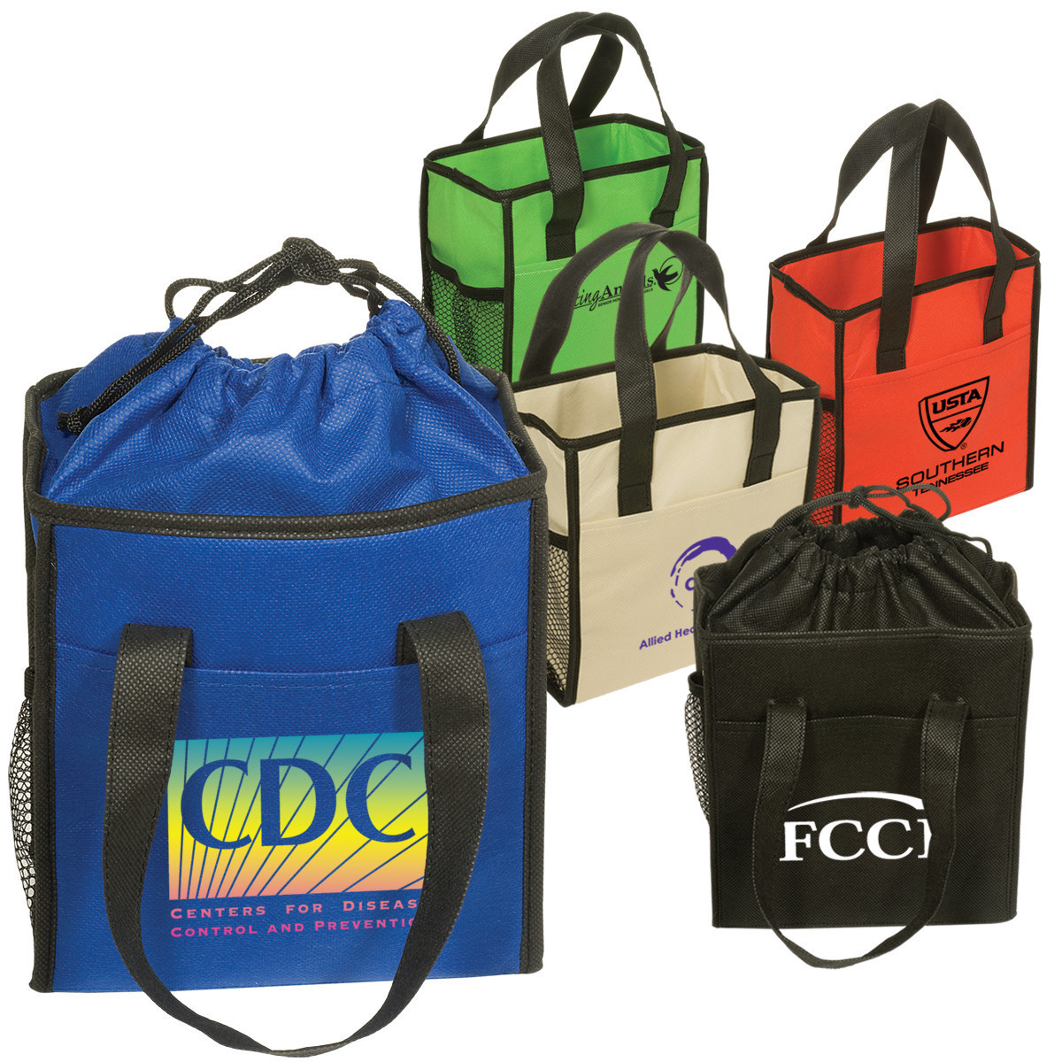 210D polyester promotional drawstring bag